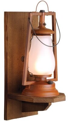 Millwood Pines Krieg Outdoor Wall Lantern Finish: Painted Rust, Shade: Clear