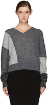 McQ Grey Cropped Patched V-neck Sweater