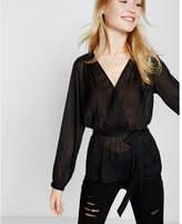 Express sheer surplice blouse