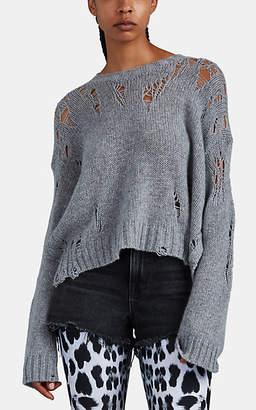R 13 Women's Shredded Cashmere Split-Side Sweater - Gray