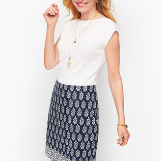 Talbots Cotton Canvas A-Line Skirt - Geo Print