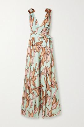 PatBO Belted Floral-print Crepe Jumpsuit - Mint