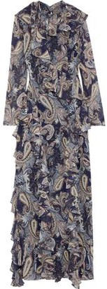 Mikael Aghal Ruffle-trimmed Printed Chiffon Maxi Dress
