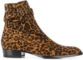 Saint Laurent Wyatt Jodhpur leopard boots
