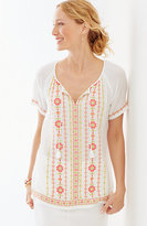 J. Jill Embroidered Crinkle Top