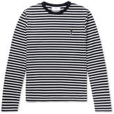 Ami Slim-fit Striped Cotton-jersey T-shirt - Navy