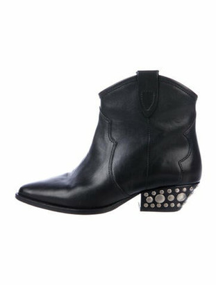 Isabel Marant Leather Studded Accents Western Boots Black