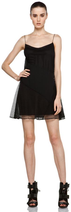 Proenza Schouler Cami Patchwork Dress in Black