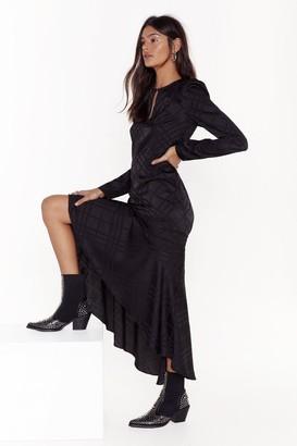 Nasty Gal Womens Not Today Satin Ruffle Midi Dress - Black - L, Black