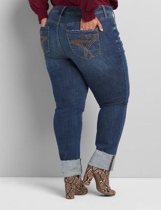 Lane Bryant Seven7 Low-Rise Straight Jean With Cuff - Dark Wash