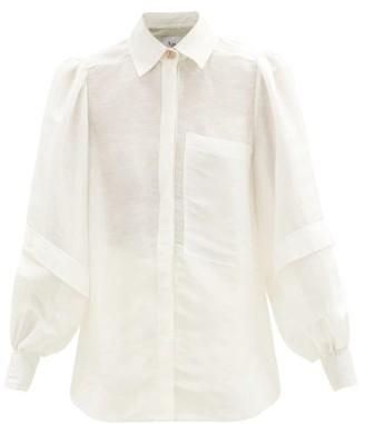 Aje Balloon-sleeve Slubbed Linen-blend Shirt - White