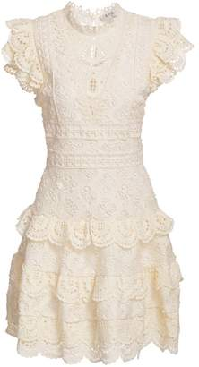 Sea Laurel Lace Tiered Mini Dress