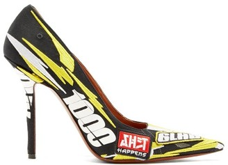 Vetements Racer-embroidered Point-toe Pumps - Womens - Yellow Multi