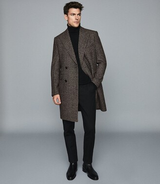 Reiss Merit - Checked Double Breasted Coat in Brown