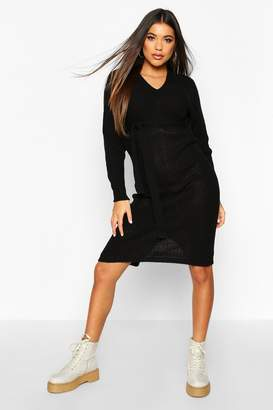 boohoo Rib Knit Midaxi Tie Waist Dress