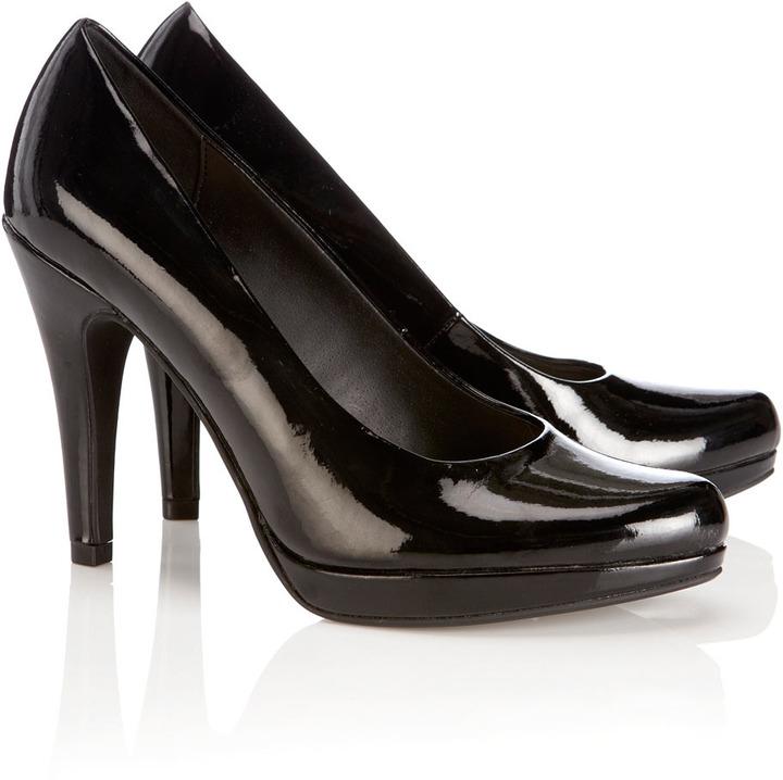 Wallis Black Platform Court Shoe