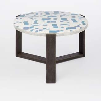 west elm Mosaic Tiled Outdoor Coffee Table - Two Tone Geo