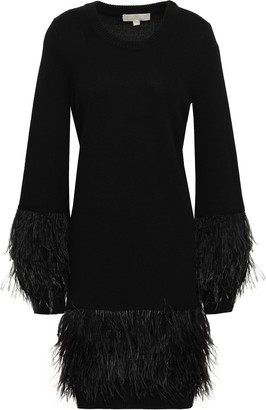 MICHAEL Michael Kors Feather-embellished Knitted Dress
