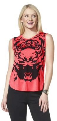 Xhilaration Junior's Tiger Graphic Tank - Hot Lips Red