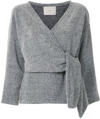 Framed Knitted Wrap Top