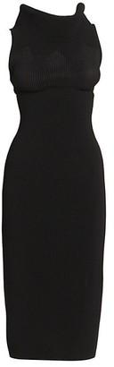 Alaia Dramatic Goddess Rib-Knit Sheath Dress