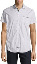 English Laundry Net-Print Short-Sleeve Sport Shirt, Light Gray