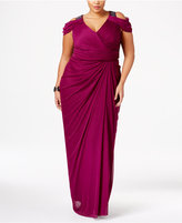 Adrianna Papell Plus Size Beaded Cold-Shoulder Gown