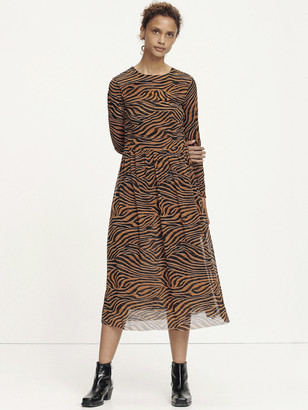 Samsoe & Samsoe Vivi Zebra Dress In Argan Moonscape - M