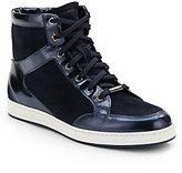 Jimmy Choo Mirror Leather & Suede High-Top Sneakers