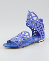 Brian Atwood Cutout Suede Flat Sandal, Purple