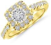 Houston Diamond District 1.01 Carat t.w. 14K White Gold Round Square Halo Diamond Engagement Ring I1