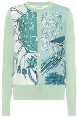 Salvatore Ferragamo Printed silk-paneled cardigan