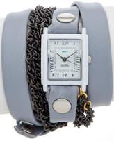 La Mer Women's Chain & Leather Wrap Watch