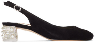 Sophia Webster Black Suede Alice Slingback Heels