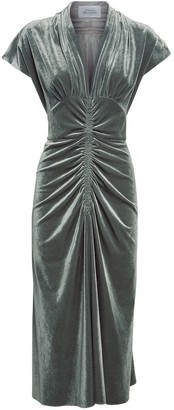 Luisa Beccaria Ruched Velvet Midi Dress