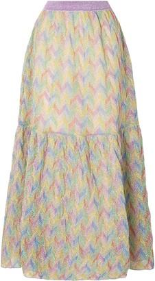 Missoni Flared Metallic Crochet-knit Maxi Skirt