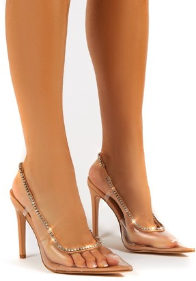Public Desire Uk Aurora Wide Fit Perspex Diamante Detail Stiletto Heels