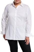 Neiman Marcus High-Low Stretch-Poplin Tunic, Plus Size