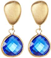 Rivka Friedman 18K Gold Clad Faceted Teardrop Poppy Blue Crystal & Satin Pebble Post Earrings