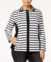 Karen Scott Plus Size Striped Jacket, Only at Macy's