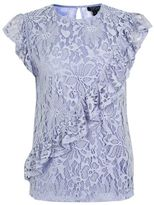Topshop Lace asymetrical ruffle shell top