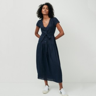 The White Company Linen Boho Midi Dress, Navy, 6