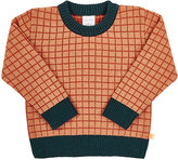 Tiny Cottons Grid-Pattern Cotton-Merino Wool Sweater-ORANGE