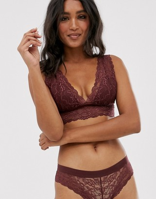 Lindex Emellie lace brazilian underwear in dark red
