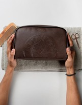 Ted Baker Leather Toiletry Bag In Brown