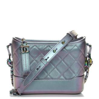Chanel Gabrielle Hobo Bag Diamond Gabrielle Quilted Iridescent Small Light Purple