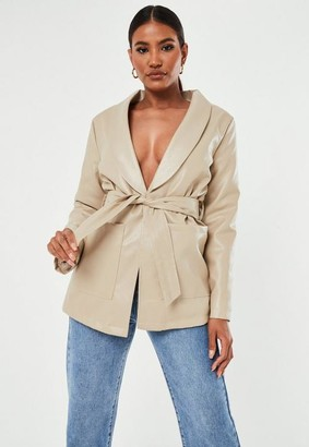 Missguided Belted Pu Borg Lined Jacket
