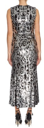 Roberto Cavalli Leopard-print Sequin-embellished Midi Gown - Silver