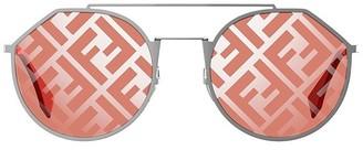 Fendi Eyewear FF Monogram Round Frame Sunglasses