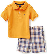 Nautica Baby Boys Newborn-24 Months Solid Polo Shirt & Printed Shorts Set